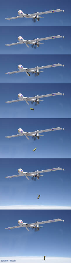 Drone releasing a bomb