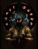Mythmonger, obsidian guardian. by glitchritual
