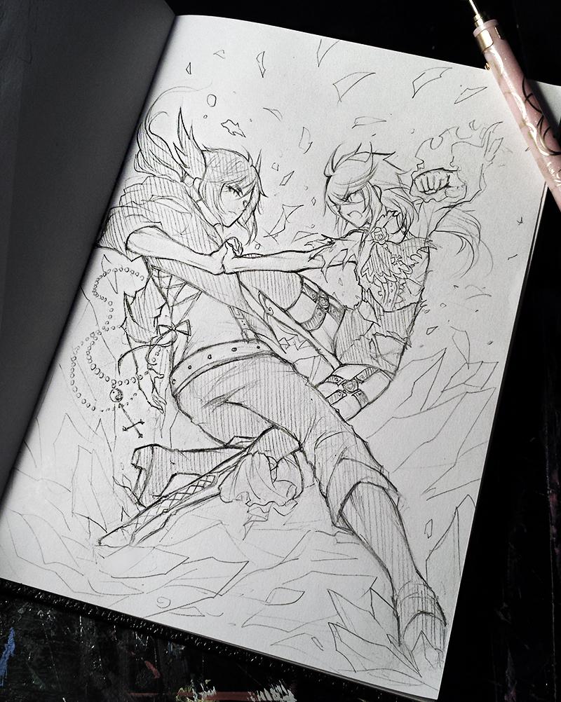 Battle scene sketch by ruri dere
