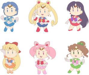 Chibi Sailor Scout Stickers! by sugoigrove