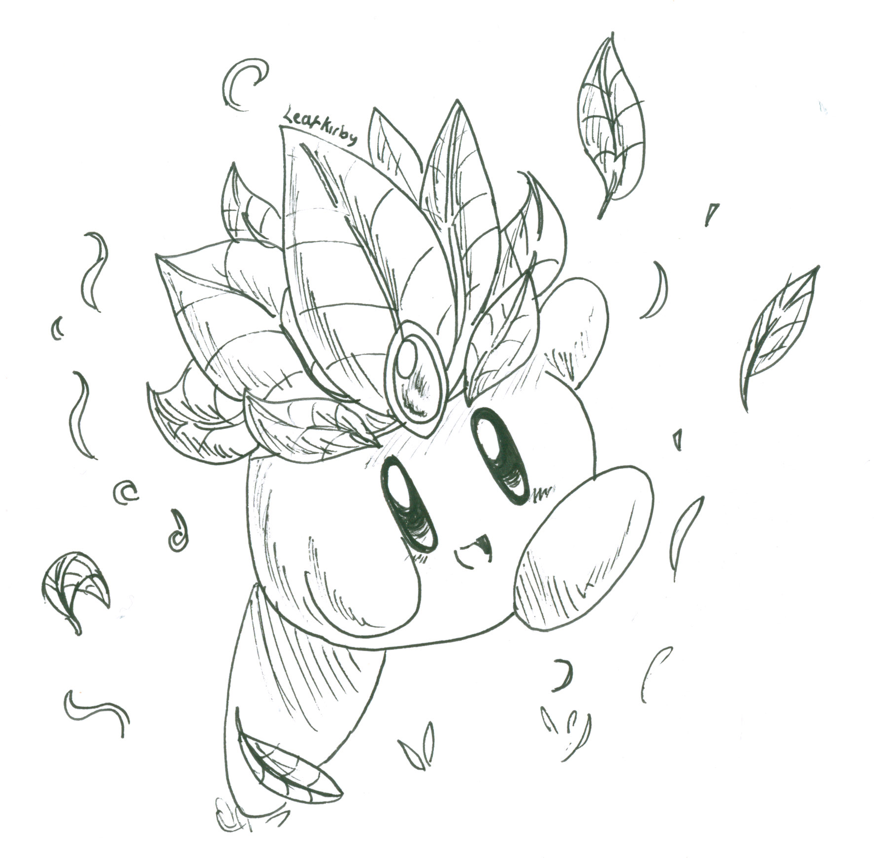 Coloring pages kirby - Leaf Kirby By Crashkirby888 Leaf Kirby By Crashkirby888