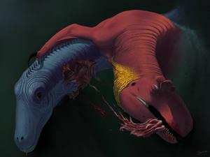 Allosaurus flesh grazing