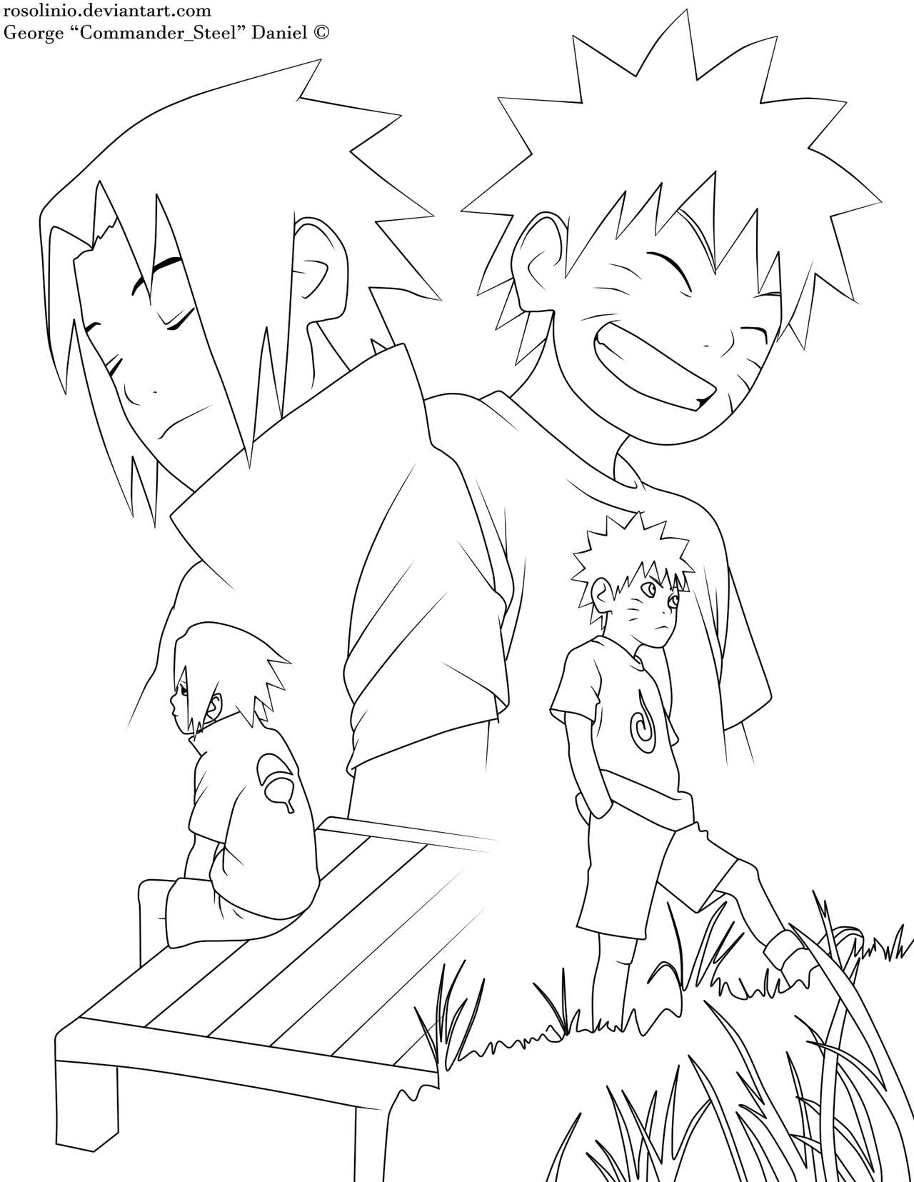 Lineart Naruto : Naruto and sasuke lineart by rosolinio on deviantart