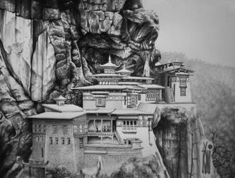 WIP (gray scale)  kastil Tibet by toniart57