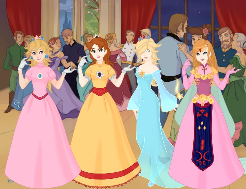 Princess Peach, Daisy, Rosalina, Zelda by merthurandbeatles