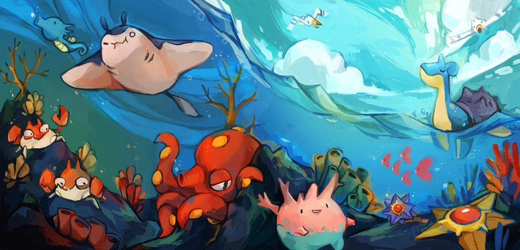 Sea pokemon by ohmonah
