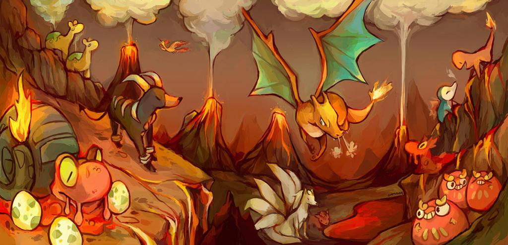 Volcano Pokemon by ohmonah