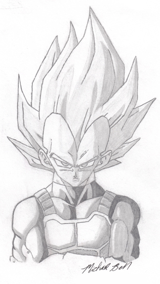 cartoon drawing 1 vegeta by portfolio mbell on deviantart