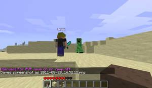 minecraft friend and a creeper