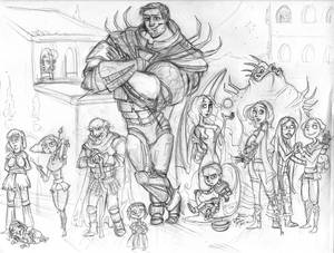 Sketch of good guys from my Torth series