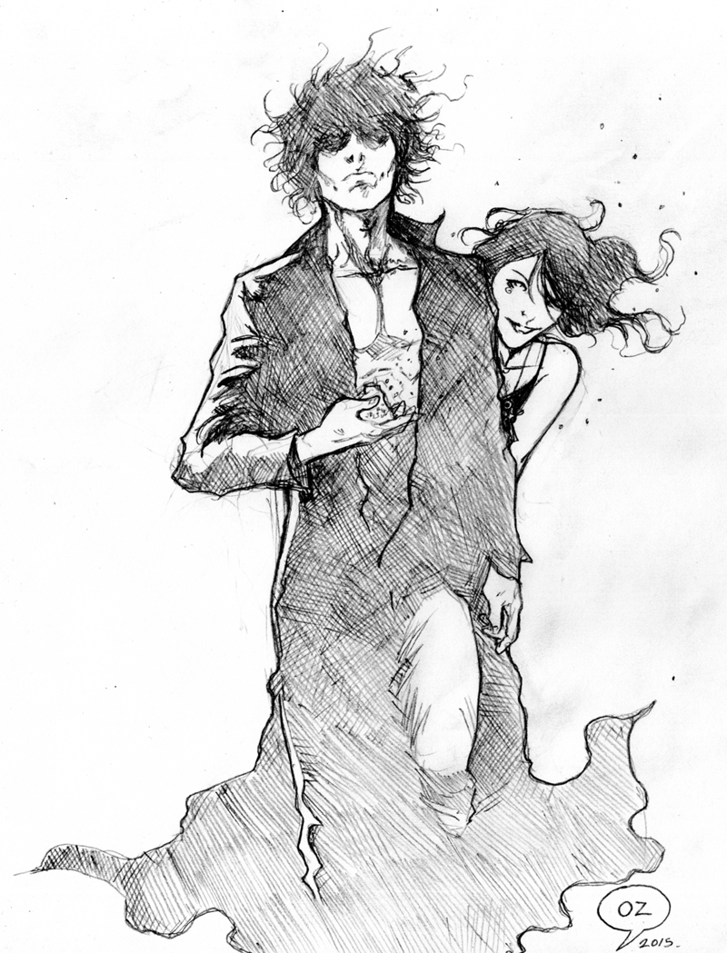 the sandman morpheus and death sketch by ozartwork on deviantart