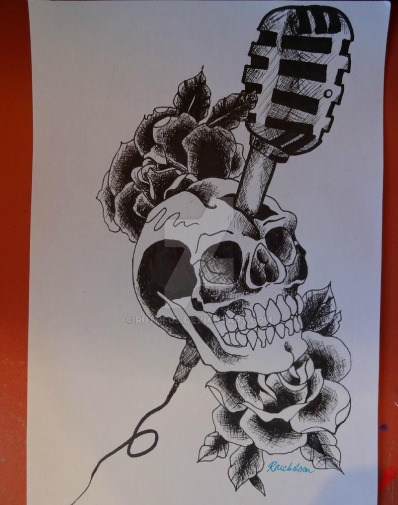 old school skull microphone and roses tattoo by ruthfus on deviantart. Black Bedroom Furniture Sets. Home Design Ideas