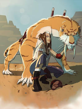 A girl with her Smilodon