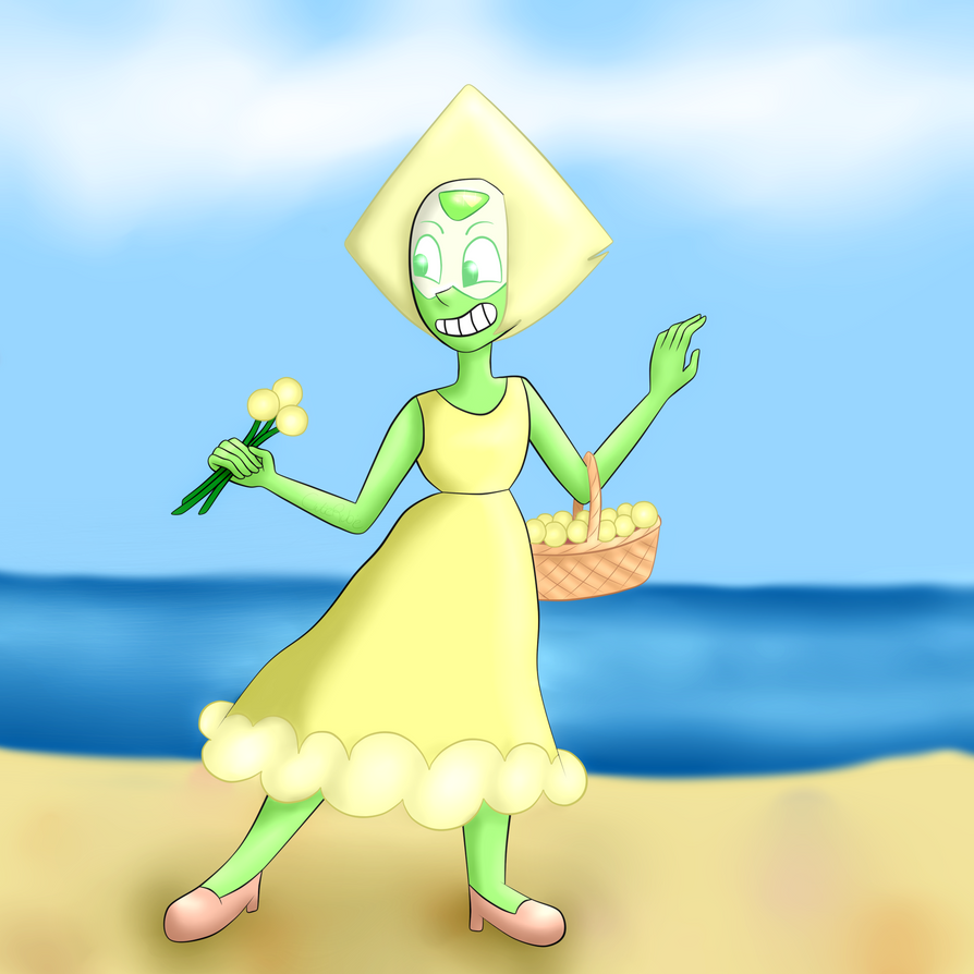 ...Lazy background is lazy... WOOO! I am back in action with drawing after finishing exams and enjoying a well-deserved long vacation - and I just HAD to draw Peridot in her dress from the wedding ...