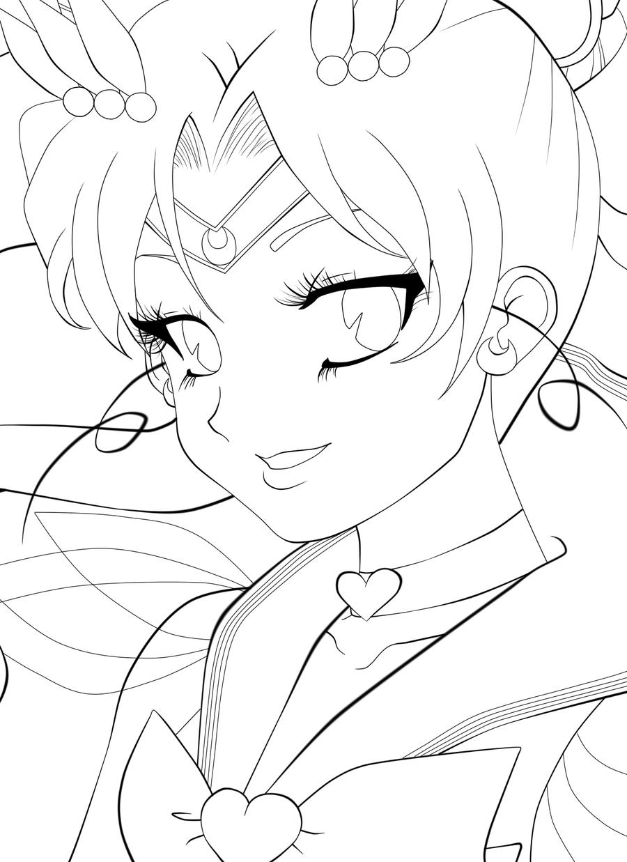 Line Drawing Moon : Chibi moon lineart by beezasaurus on deviantart