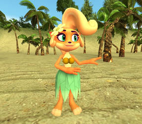 Coco Bandicoot goes Hawaiian