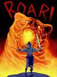 Firbolg Barbarian vs Lava Bear by MarkHRoberts