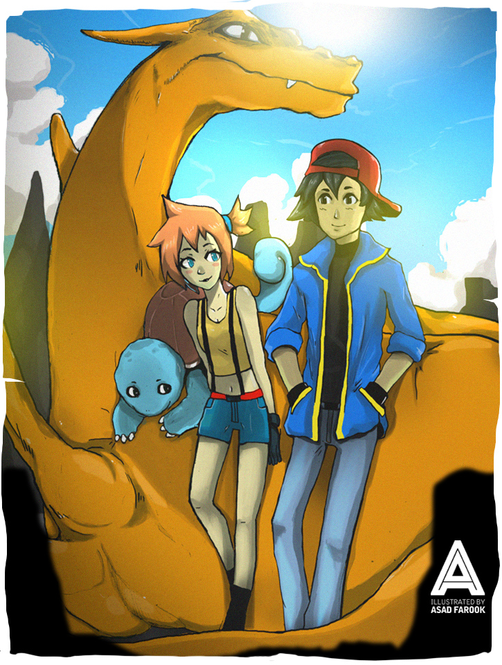 Pokemon - Ash x Misty x Charizard x Squirtle by faruuk-sama on