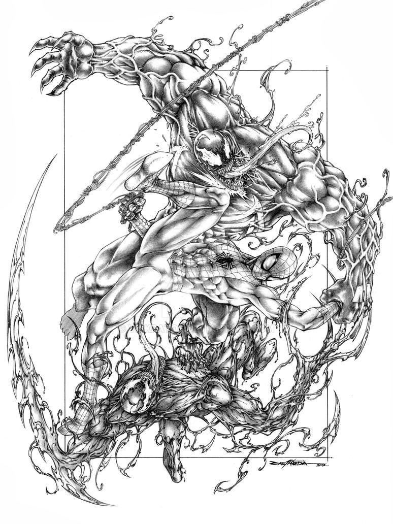 Line Art Vs Sketch : Spiderman vs venom crnage by viskratos on deviantart