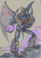 Deathsaurus with energon cube by darefi