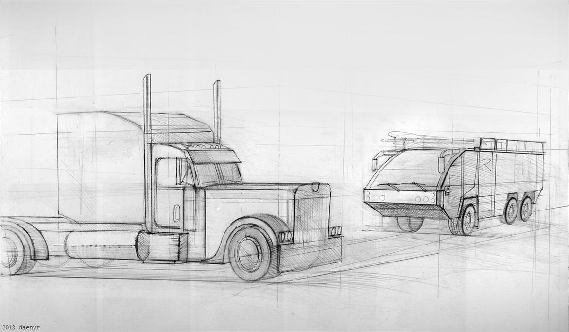 how to draw a peterbilt 379