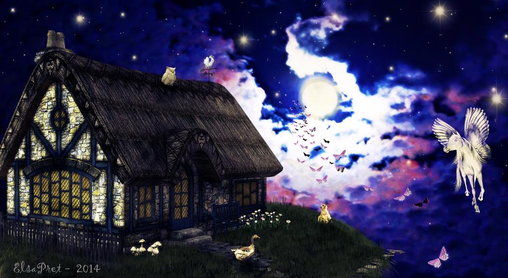 Little house in the sky by Elsapret