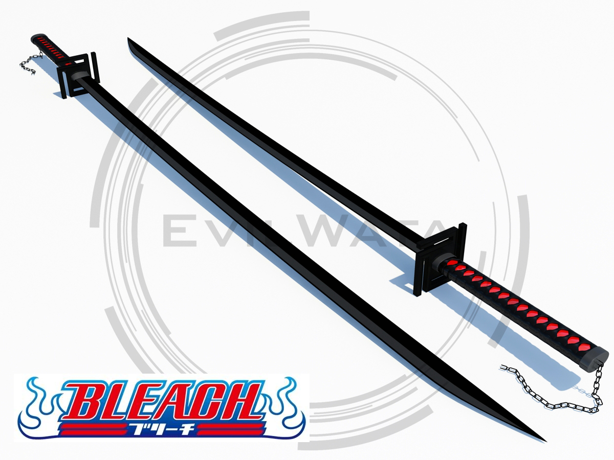 40 japanese ichigo sword tensa zangetsu bankai cutting moon bleach anime