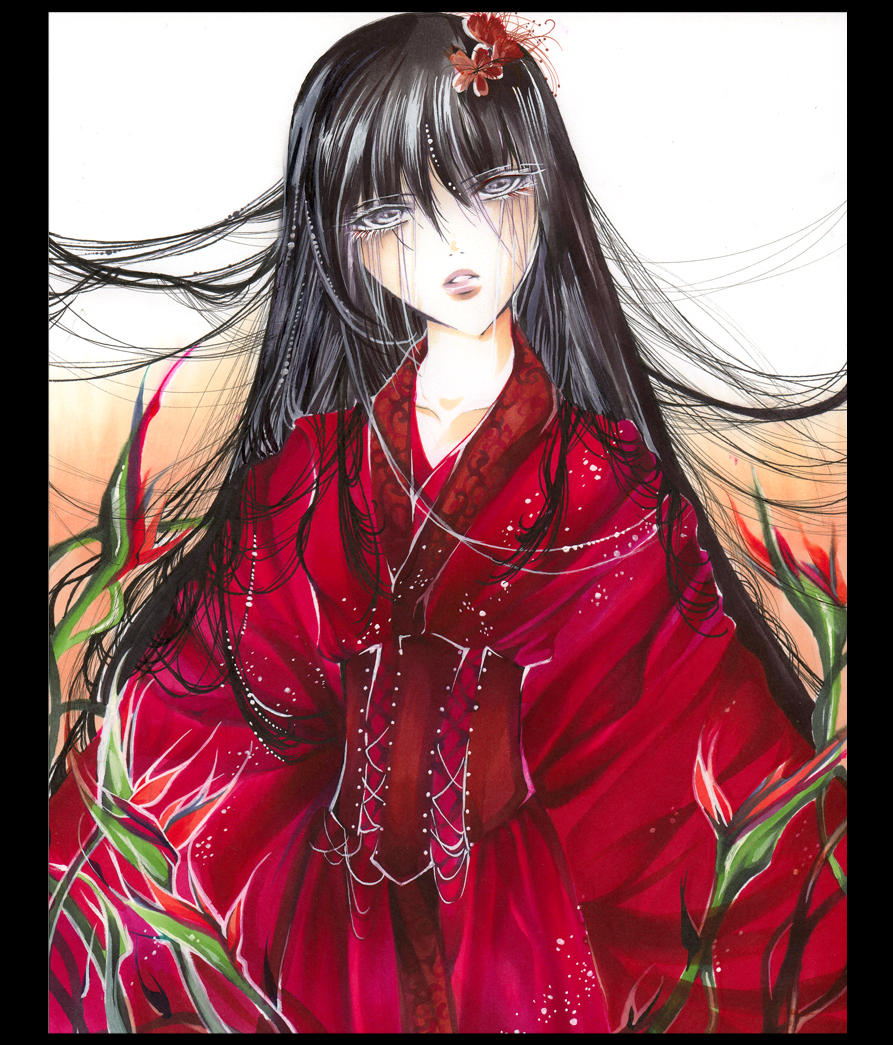 Red kimono and flowers by Giname