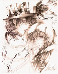 Black white and blue in pencil by Giname