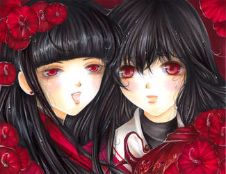 Red Flowers and Incence by Giname