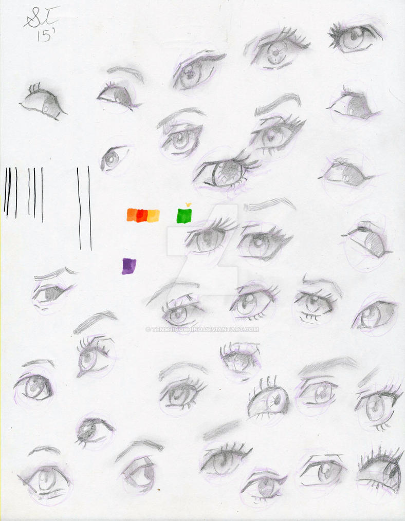 Graphite eye sketches by TenshiHoshino