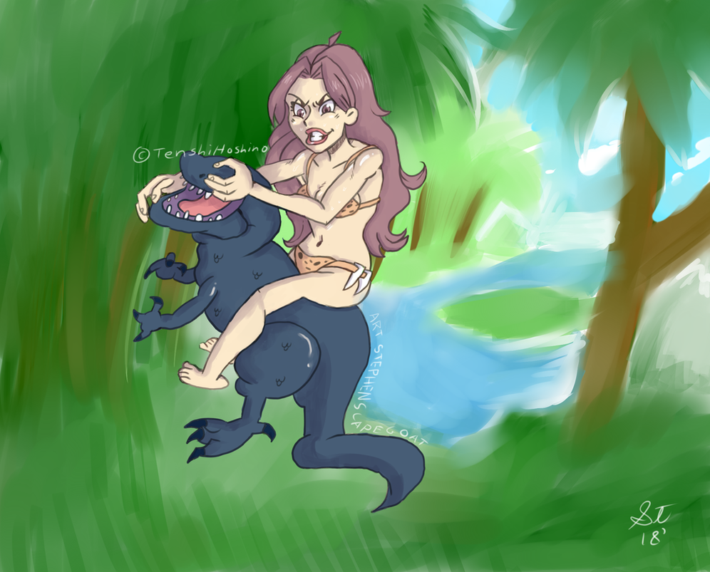 Belated Birthday Request Queen Kong Vs. T-Rex by TenshiHoshino