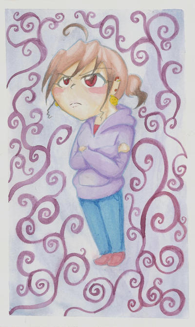 Angry Chibi Char watercolor by XcoconutxpineappleX