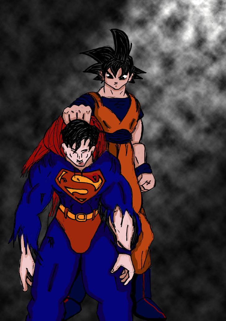 Goku beats Superman by KiddSketch