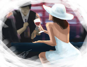 Lady in White With Wine