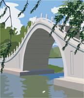 Japanese Bridge Illustration