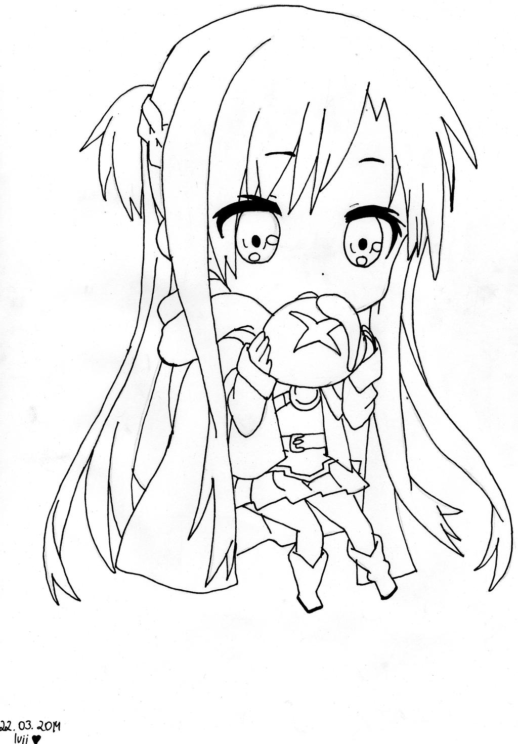 anime girl with swords coloring pages | Sword Art Online - Asuna as Chibi (lineart) by ...