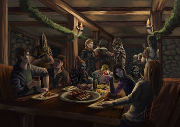 New Year in the tavern by Janonna-art