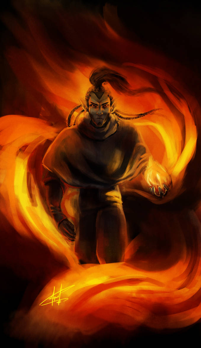 Felor in the flame by Janonna-art