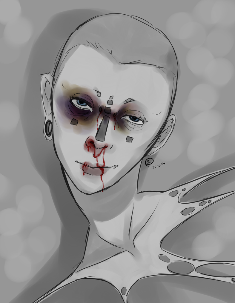 Goretober #23 Nosebleed/Bruises/Minor Injury by ChesireHats