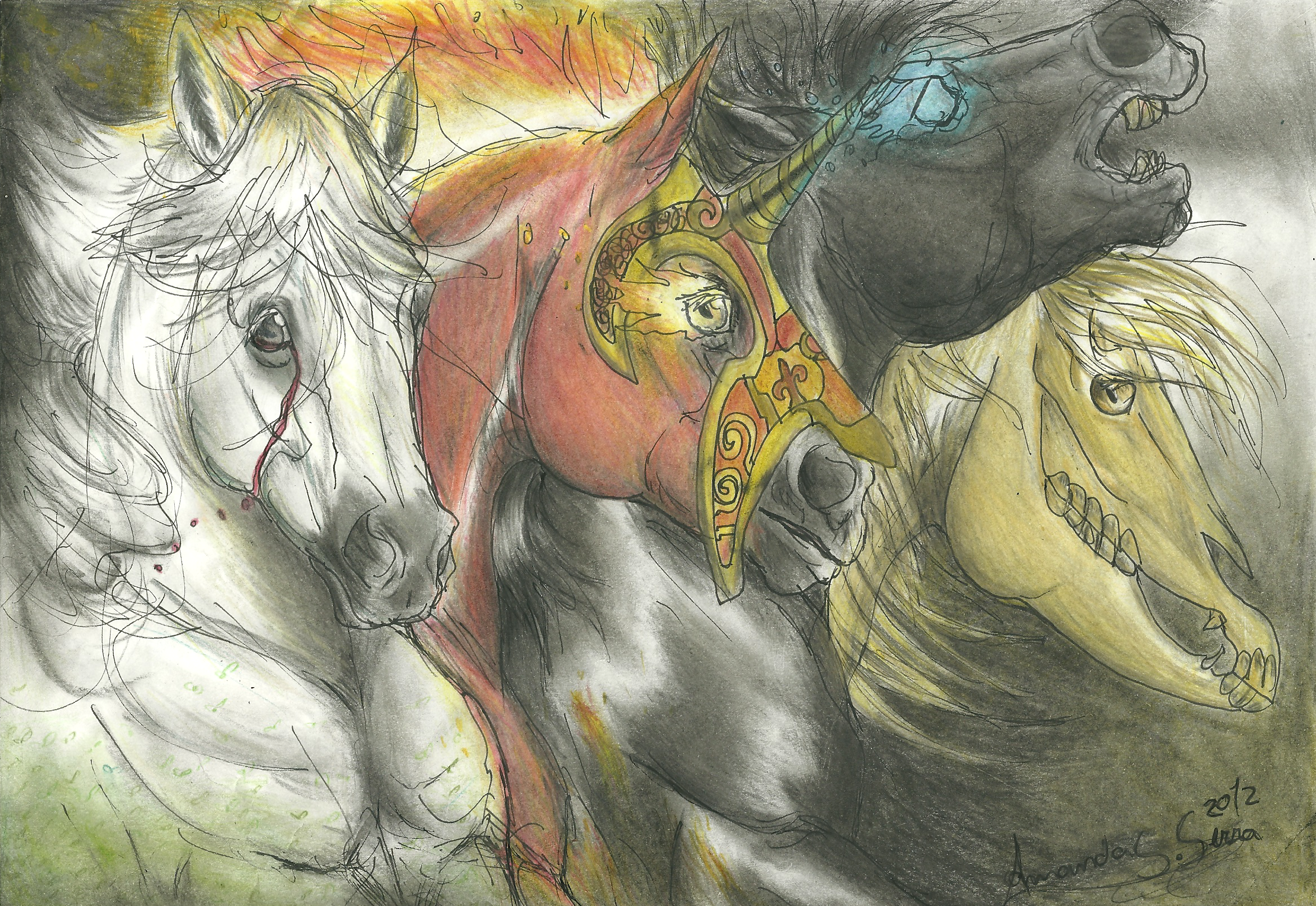 the 4 horses of apocalipse by AmanndaSierra