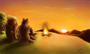 Lovers on the sun by AmanndaSierra