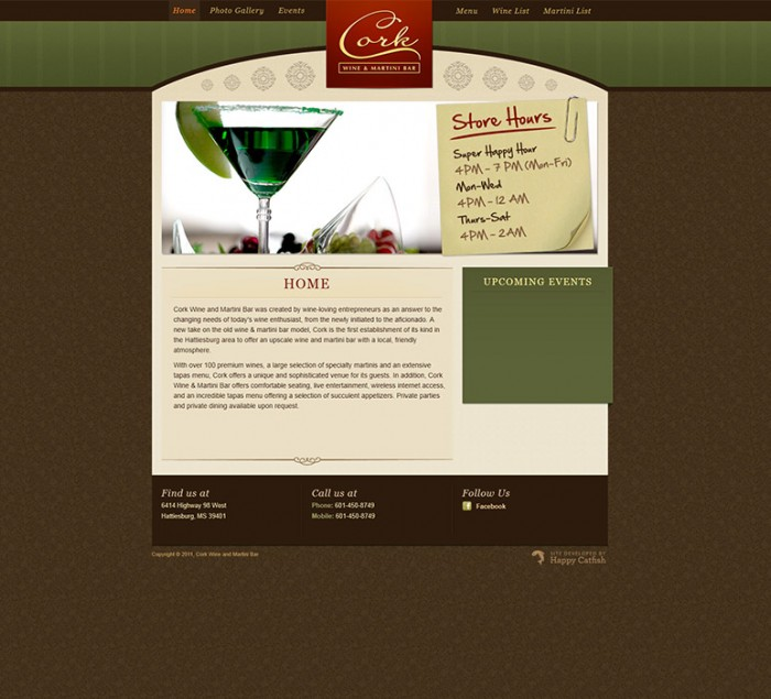 Cork Wine and Martini Bar Website by HappyCatfishWeb