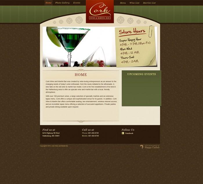 Cork Wine and Martini Bar Website by HappyCatfishWeb