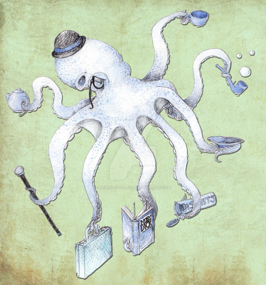 Blue Octopus Gentleman by heart-of-glass