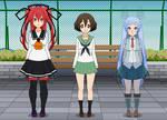 Three Anime Girls in Kisekae
