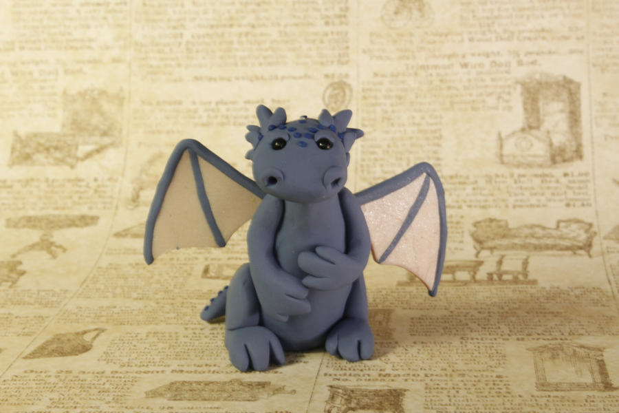 Miniature Baby Blue Clay Letter Dragon by lizayle