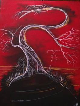 Tree on black rock