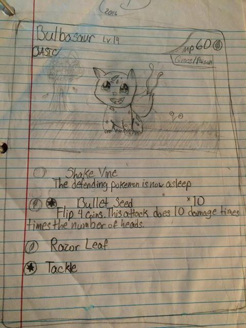 Bulbasaur {:Pokemon Card:} - Old sixth grade art by Ihashershey270