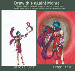 Draw this again! Meme - Red Lady by SomebodyOutHere